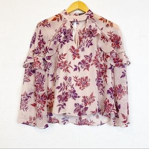 Express Floral Blouse Ruffle Front chiffon Size XS
